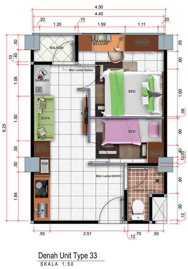 Apartemen menara cibinong tipe-33